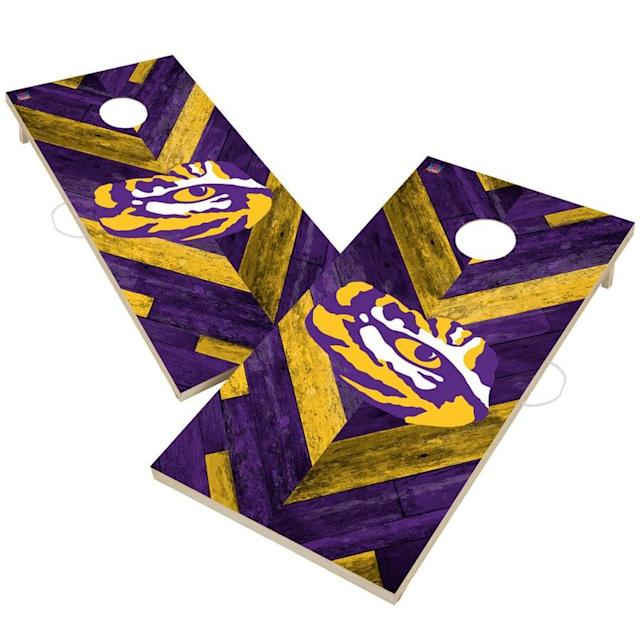 LSU Herringbone Design Cornhole Set