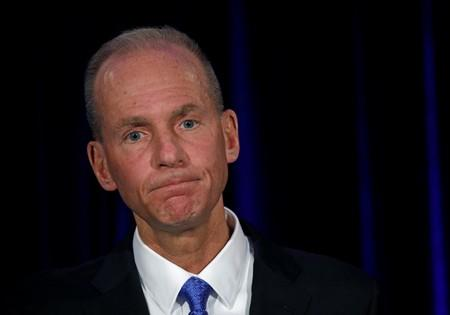 FILE PHOTO: Boeing Co Chief Executive Dennis Muilenburg during a news conference at the annual shareholder meeting in Chicago