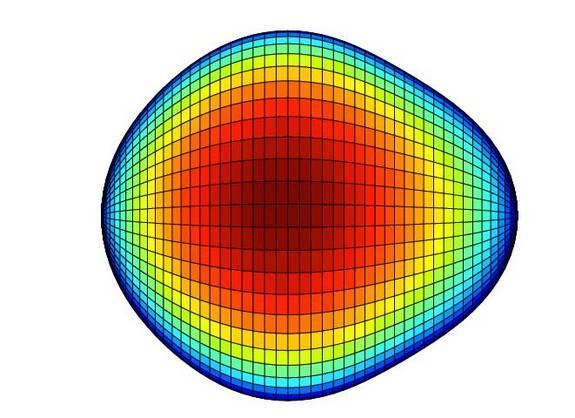 Scientists have found some atoms have pear-shaped nuclei, rather than the spherical or football-shaped ones. Here, a representation of the radium-224 nucleus in the x, z plane, with the colors as the y-axis scale.