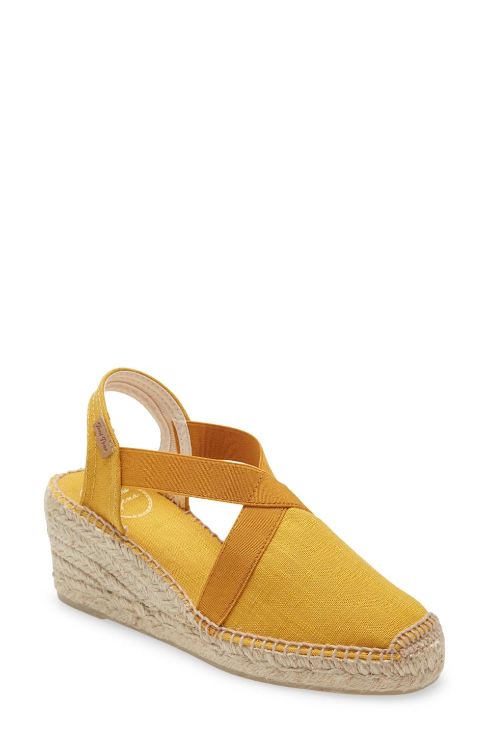 """<p><strong>Toni Pons</strong></p><p>nordstrom.com</p><p><strong>$109.95</strong></p><p><a href=""""https://go.redirectingat.com?id=74968X1596630&url=https%3A%2F%2Fwww.nordstrom.com%2Fs%2Ftoni-pons-ter-slingback-espadrille-sandal-women%2F3970067&sref=https%3A%2F%2Fwww.prevention.com%2Fbeauty%2Fstyle%2Fg36040203%2Fcomfortable-wedge-sandals%2F"""" rel=""""nofollow noopener"""" target=""""_blank"""" data-ylk=""""slk:SHOP NOW"""" class=""""link rapid-noclick-resp"""">SHOP NOW</a></p><p>These cute wedges feature a thick, <strong>elastic slingback strap</strong>, giving you a secure, custom fit. The 2-inch wedge makes them a reliable, comfy option. They come in several colors, including navy and taupe (try the yellow ones for a splash of color!).</p>"""