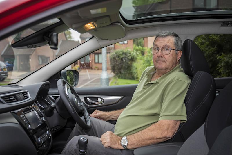 Richard Keedwell, 71, with his vehicle which he was caught speeding in. (SWNS)