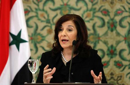 FILE PHOTO: Bouthaina Shaaban, adviser of Syria's President Bashar al-Assad, speaks at a news conference in Damascus