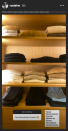 <p>Famous for her muted nude, camel, grey and black wardrobe colour palette, we're overjoyed we finally got a glimpse inside the model's wardrobe during lockdown.</p><p>On Monday November 16, the mother-of-one shared a screenshot on Instagram Stories of a shelving unit which is home to her perfectly-folded knitwear and trousers, including items from the likes of Khaite, Paige and Mother Denim.</p><p>Oh, to have a wardrobe that looks as clean and minimal as this! </p>