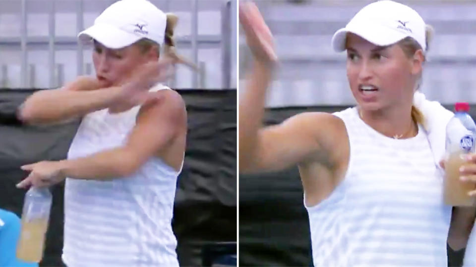 Yulia Putintseva, pictured here blowing up at the Adelaide International.