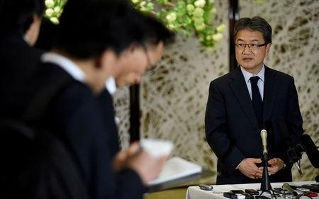 FILE PHOTO: U.S. Special Representative for North Korea Policy Joseph Yun answers questions from reporters following meeting with Japan and South Korea chief nuclear negotiators in Tokyo