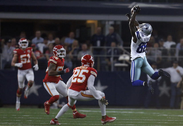 <p>Dallas Cowboys wide receiver Dez Bryant (88) reaches up to catch a pass as Kansas City Chiefs' Derrick Johnson (56) and Kenneth Acker (25) defend in the first half of an NFL football game, Sunday, Nov. 5, 2017, in Arlington, Texas. (AP Photo/Brandon Wade) </p>
