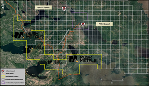 Figure 1. Proximity of Musk Metals claims to the PAK and Spark lithium deposits of Frontier Lithium