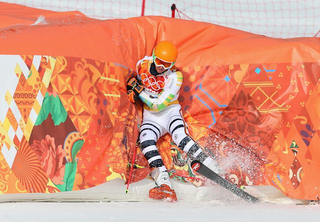 SOCHI, RUSSIA - FEBRUARY 19: Stefan Luitz of Germany crashes into the barrier during the Alpine Skiing Men's Giant Slalom on day 12 of the Sochi 2014 Winter Olympics at Rosa Khutor Alpine Center on February 19, 2014 in Sochi, Russia. (Photo by Alexander Hassenstein/Getty Images)