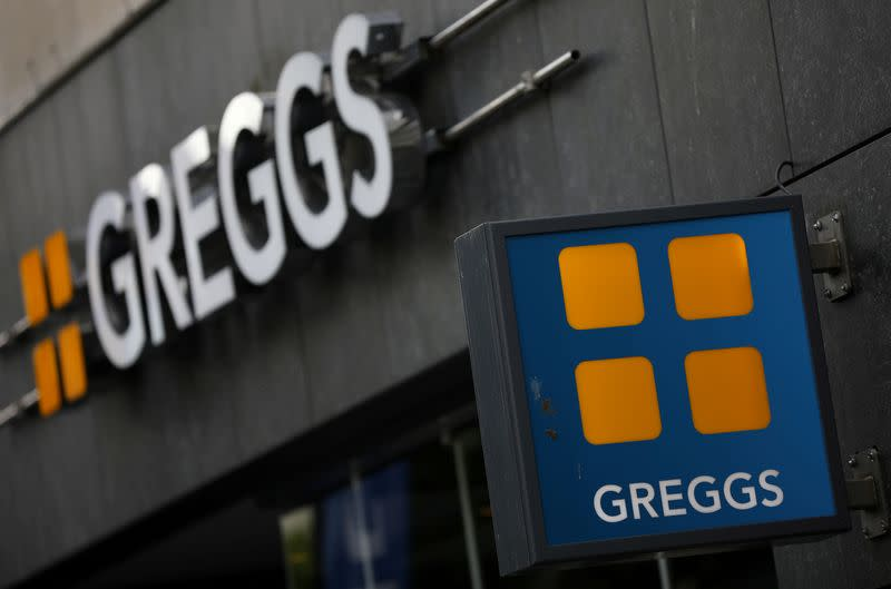 FILE PHOTO: Signage and logo pictured outside a Greggs store in Liverpool