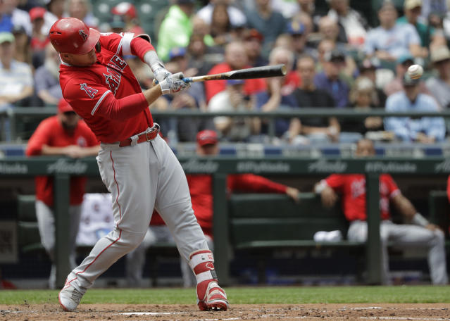 Mike Trout didn't get to swing the bat much during Wednesday's game against the Mariners. (AP Photo/Ted S. Warren)