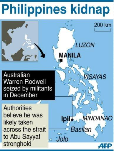 Map showing the area in the Philippines where Australian Warren Rodwell was kidnapped in December. A new video has emerged that shows he was still alive in late March, accordig to the Australian foreign office