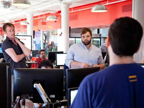 meetup employees collaborating on a project