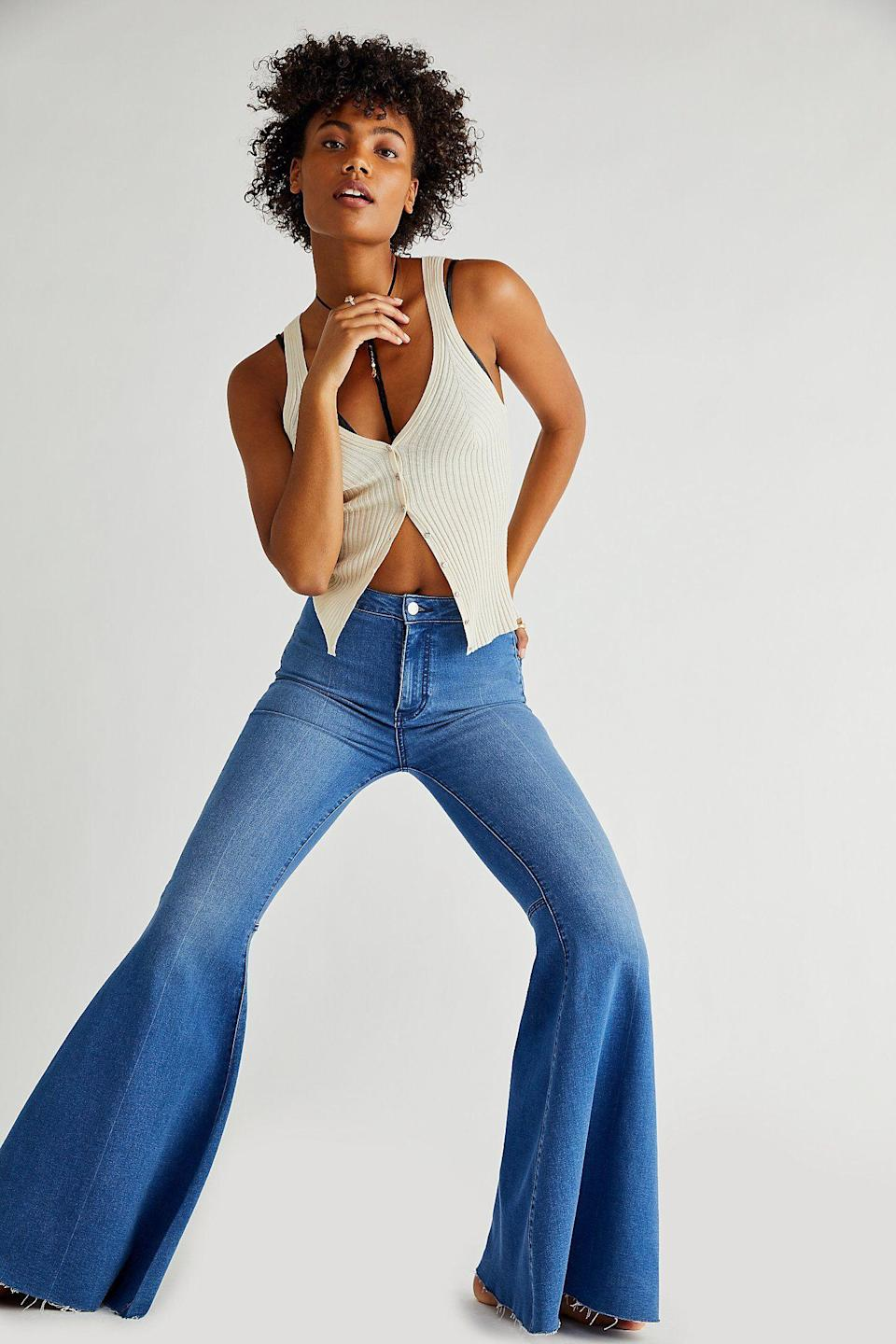 """<p><strong>Free People</strong></p><p>freepeople.com</p><p><strong>$78.00</strong></p><p><a href=""""https://go.redirectingat.com?id=74968X1596630&url=https%3A%2F%2Fwww.freepeople.com%2Fshop%2Fjust-float-on-flare-jeans%2F&sref=https%3A%2F%2Fwww.goodhousekeeping.com%2Fholidays%2Fhalloween-ideas%2Fg27952017%2Fbest-hippie-halloween-costume-ideas%2F"""" rel=""""nofollow noopener"""" target=""""_blank"""" data-ylk=""""slk:Shop Now"""" class=""""link rapid-noclick-resp"""">Shop Now</a></p><p>If you're a fan of the bell bottom jeans look, try this stylish update. Save them for after Halloween, because they're cute enough to wear all year.</p>"""