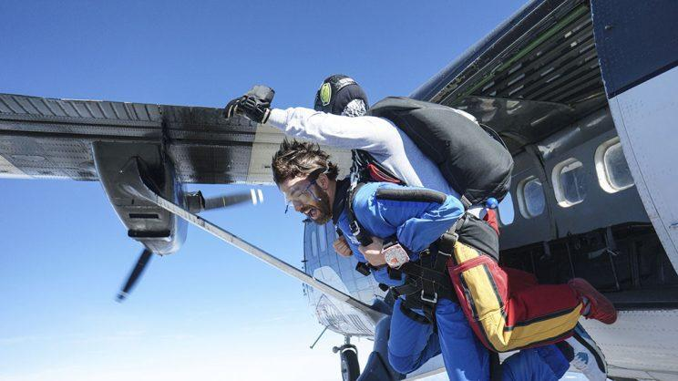 Chris Evans and Esquire's writer went skydiving. (Photo: Provided by Chris Evans)