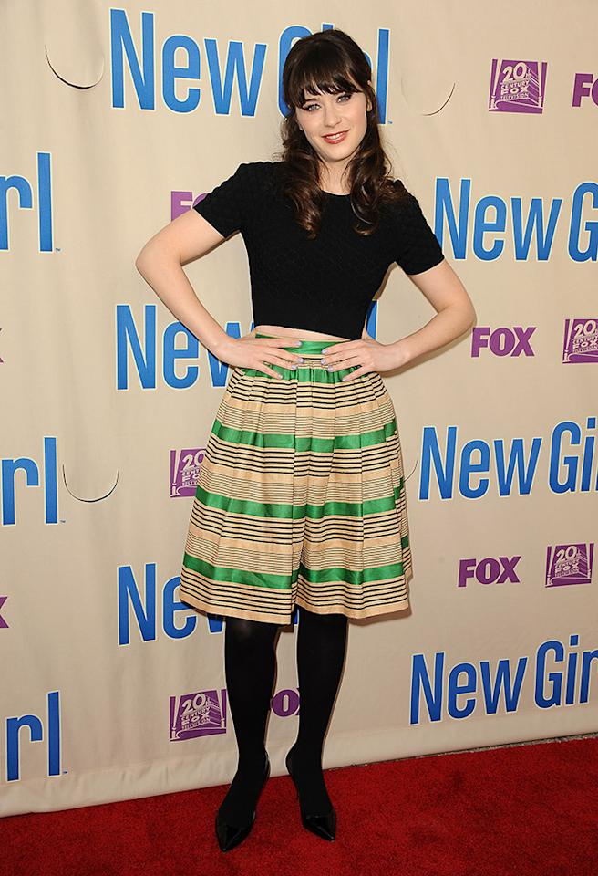 "NORTH HOLLYWOOD, CA - APRIL 30:  Actress Zooey Deschanel attends a screening and Q&A of ""New Girl"" at Leonard H. Goldenson Theatre on April 30, 2013 in North Hollywood, California.  (Photo by Jason LaVeris/FilmMagic)"