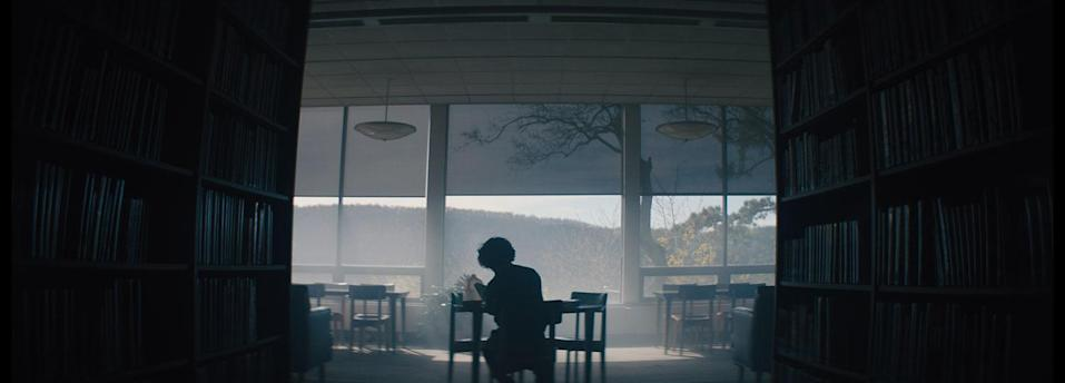 Peter Dinklage's Del uses the library as his base. <i>I Think We're Alone Now</i> (The Movie Partnership)