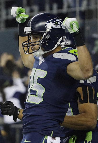 Seattle Seahawks' Jermaine Kearse celebrates after catching a touch-down pass during the second half of the NFL football NFC Championship game against the San Francisco 49ers, Sunday, Jan. 19, 2014, in Seattle. (AP Photo/Matt Slocum)