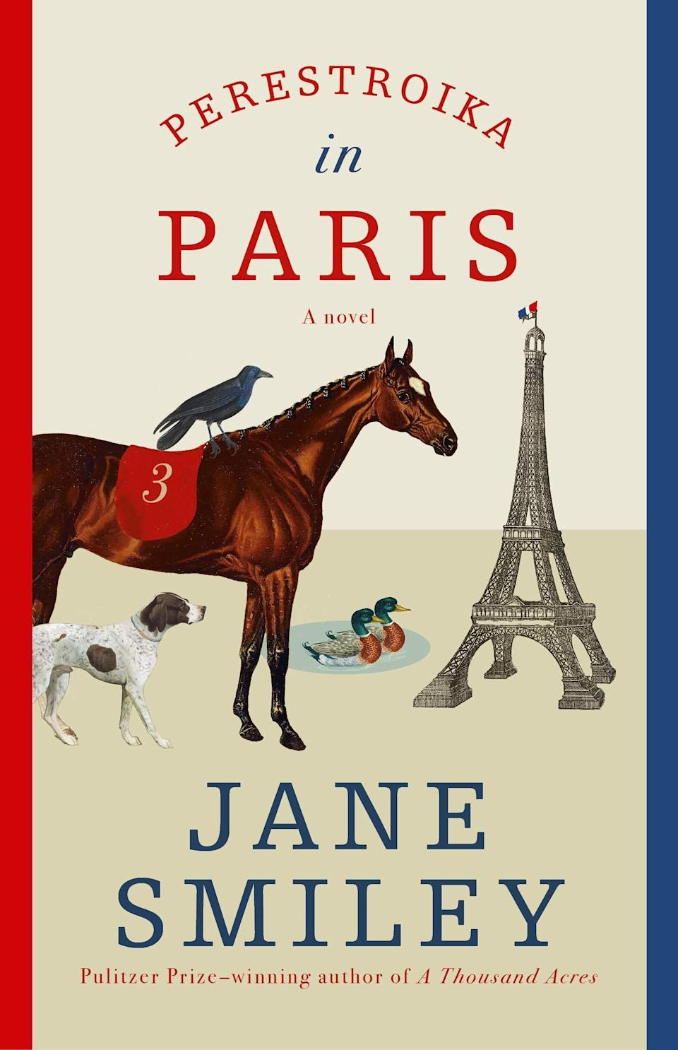 """Pulitzer Prize-winning and New York Times-bestselling author Jane Smiley's latest novel brings together an unlikely cast of characters in Paris: A spirited racehorse, a German shorthaired pointer, and a young boy. The trio's friendship blooms as they explore Paris while trying not to raise too many eyebrows. Knopf calls this whimsical tale """"an adventure that celebrates curiosity, ingenuity, and the desire of all creatures for true love and freedom."""" Read more about it on <a href=""""https://www.goodreads.com/book/show/52578294-perestroika-in-paris"""">Goodreads</a>, and grab a copy on <a href=""""https://amzn.to/2JCNIxV"""">Amazon</a> or <a href=""""https://fave.co/3lpsDUZ"""">Bookshop</a>.<br /><br /><i>Expected release date:</i> <i>December 1</i>"""