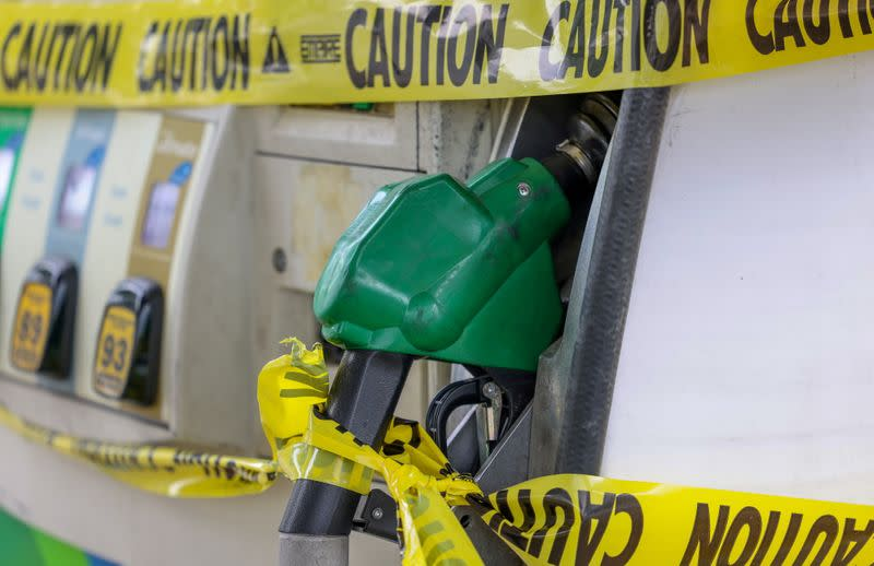 FILE PHOTO: A lack of gasoline at a gas station in Washington
