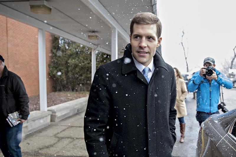 Democrat Conor Lamb arrives to vote in Carnegie, Pennsylvania, on Tuesday. His victory is a monumental pickup for Democrats. (Bloomberg/Getty Images)