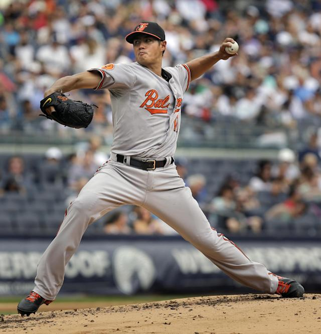 Baltimore Orioles starting pitcher Wei-Yin Chen throws the ball during the second inning of the baseball game against the New York Yankees at Yankee Stadium Sunday, Sept. 1, 2013 in New York. (AP Photo/Seth Wenig)