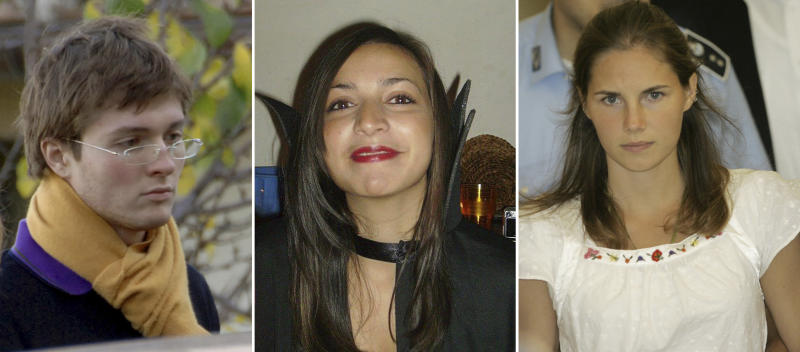 FILE PHOTOS COMBO - File photos combo shows, from left; Italian student Raffaele Sollecito, slain 21-year-old British woman Meredith Kercher, her American roommate Amanda Knox. Few international criminal cases have cleaved along national biases as that of American student Amanda Knox, awaiting half world away her third Italian court verdict in the 2007 slaying of her British roommate, 21-year-old Meredith Kercher. Whatever is decided this week, the protracted legal battle that has grabbed global headlines and polarized trial-watchers in three nations probably won't end in Florence. With the first two trials producing flip-flop guilty-then-innocent verdicts against Knox and her former Italian boyfriend, Raffaele Sollecito, the case has produced harshly clashing versions of events. A Florence appeals panel designated by Italy's supreme court to address errors in the appeals acquittal is set to deliberate Thursday, Jan. 30, 2014, with a verdict expected later in the day. (AP Photo/files)