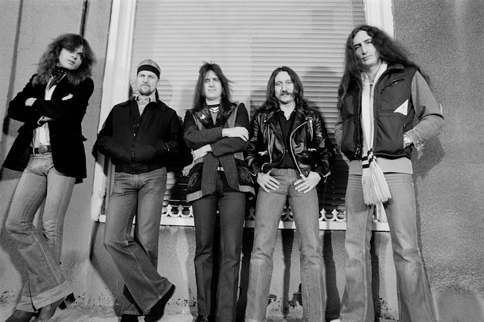 Rock band Uriah Heep posed in Islington, London in November 1979. Left to right: singer John Sloman, drummer Chris Slade, bassist Trevor Bolder, guitarist Mick Box and keyboard player Ken Hensley. (Photo by Fin Costello/Redferns)