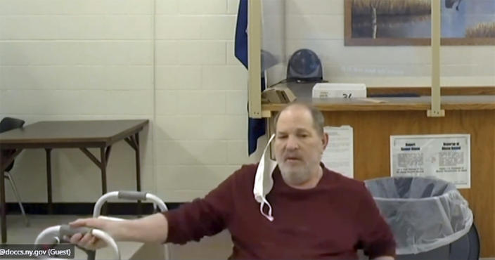 In this image taken from court video, Harvey Weinstein attends a hearing from Wende Correctional Facility, a maximum security prison, near Buffalo, N.Y., Tuesday, June 15, 2021. A New York judge on Tuesday approved Weinstein's extradition to California, where he faces additional sexual assault charges, ending a legal fight prolonged by the COVID-19 pandemic, the defense's concerns about Weinstein's failing health and a squabble over paperwork. (New York Unified Court System via AP)