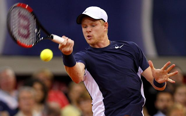 <span>Kyle Edmund in action for Britain against Jeremy Chardy</span> <span>Credit: Rex Features </span>