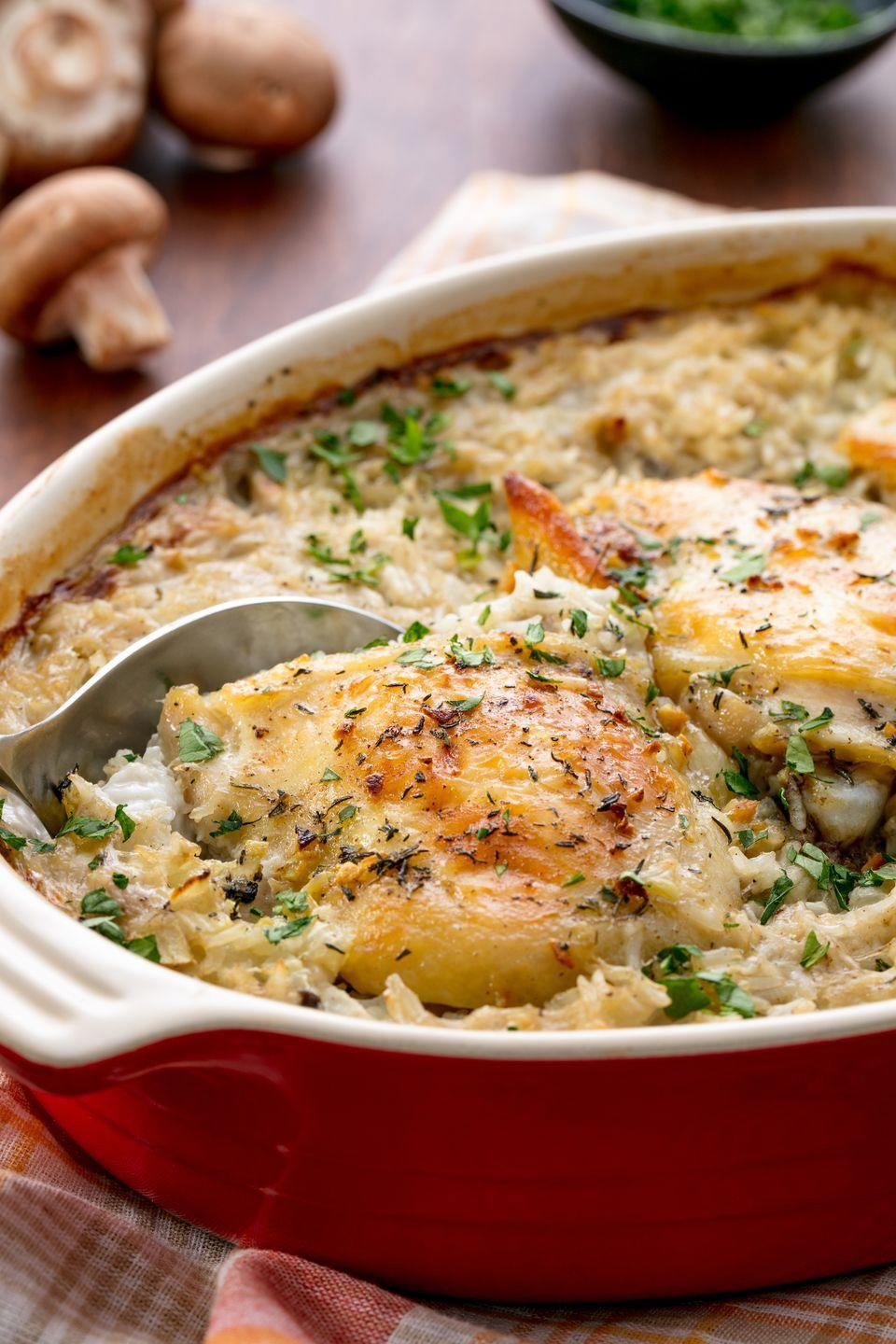 "<p>A feel-good meal.</p><p>Get the recipe from <a href=""https://www.delish.com/cooking/recipe-ideas/recipes/a54936/easy-chicken-rice-casserole-recipe/"" rel=""nofollow noopener"" target=""_blank"" data-ylk=""slk:Delish"" class=""link rapid-noclick-resp"">Delish</a>.</p>"