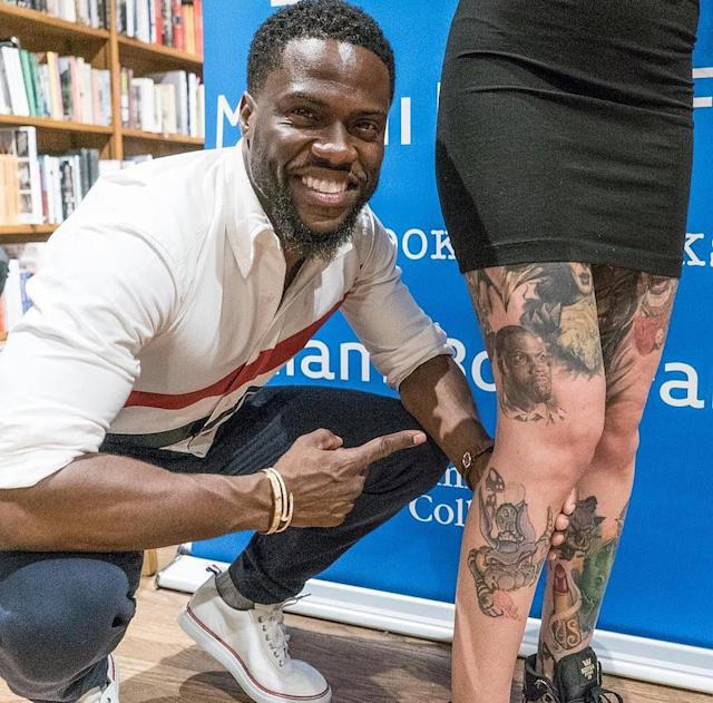 "<p>If you ever want to impress the comedian, getting his face <a href=""https://www.instagram.com/p/BVi10x1D70u/"" rel=""nofollow noopener"" target=""_blank"" data-ylk=""slk:tattooed"" class=""link rapid-noclick-resp"">tattooed</a> on your body is one surefire way. ""I love the s*** out of my fans…..,"" Hart mused after meeting one at <a href=""https://www.yahoo.com/celebrity/kevin-hart-loves-ladys-kevin-hart-tattoo-214201511.html"" data-ylk=""slk:a signing for his book;outcm:mb_qualified_link;_E:mb_qualified_link"" class=""link rapid-noclick-resp newsroom-embed-article"">a signing for his book</a>. (Photo: Kevin Hart via Instagram) </p>"