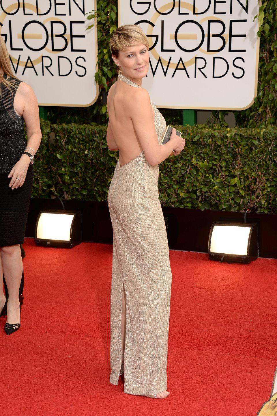 <p>The legendary actress showed off her backside in 2014 with a sparkly Reem Acra gown.</p>