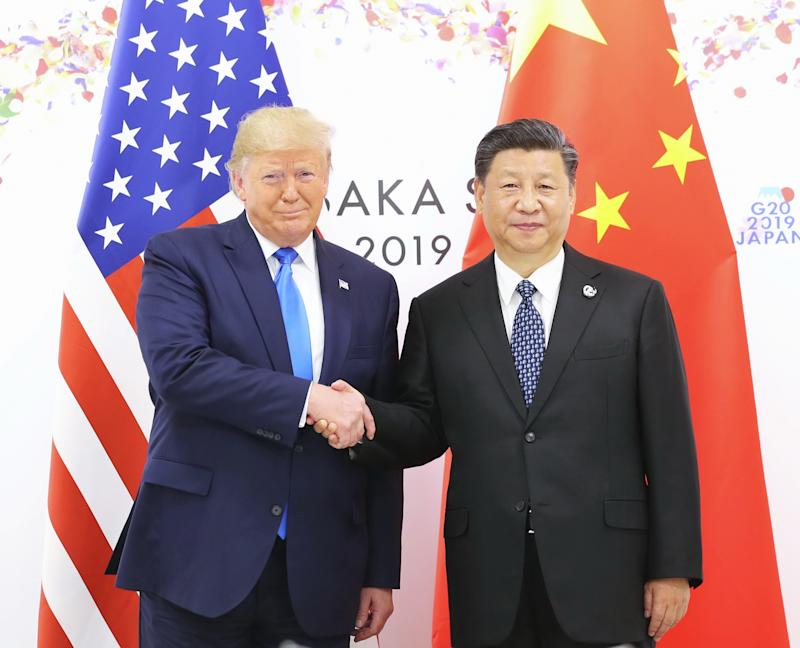 OSAKA, June 29, 2019 -- Chinese President Xi Jinping meets with U.S. President Donald Trump in Osaka, Japan, June 29, 2019. (Photo by Ju Peng/Xinhua via Getty) (Xinhua/Ju Peng via Getty Images)