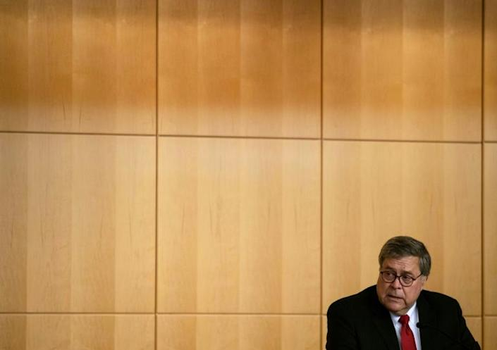 US Attorney General William Barr is overseeing the inquiry into the investigation examining whether Donald Trump colluded with Russia during the 2016 presidential election (AFP Photo/NICHOLAS KAMM)