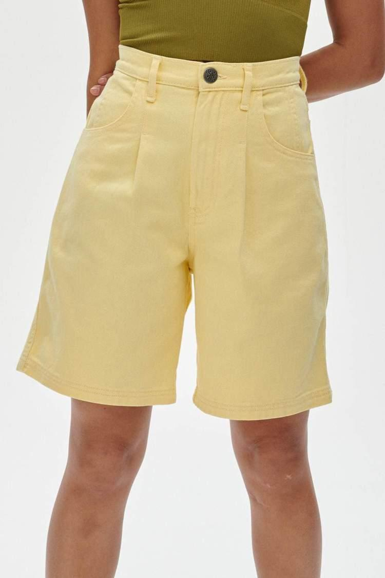 """From the roomy fit to the long length, shorts don't get more perfect than these. I don't often gravitate towards coloured denim but this particular shade of yellow feels like summer. <br><br><strong>Lucy & Yak</strong> Bonnie Short - Buttercup, $, available at <a href=""""https://lucyandyak.com/collections/all-bottoms/products/bonnie-shorts-in-lemon-meringue-yellow"""" rel=""""nofollow noopener"""" target=""""_blank"""" data-ylk=""""slk:Lucy & Yak"""" class=""""link rapid-noclick-resp"""">Lucy & Yak</a>"""