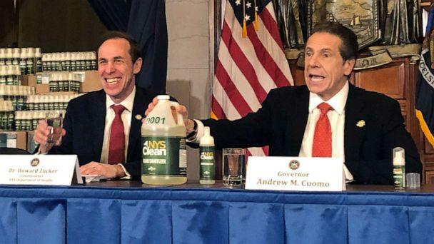 PHOTO: New York Gov. Andrew Cuomo, right, introduces 'New York State Clean,' a hand sanitizer manufactured by the state of New York, during a news conference update on the coronavirus, March 9, 2020, in Albany, N.Y. (Marina Villeneuve/AP)