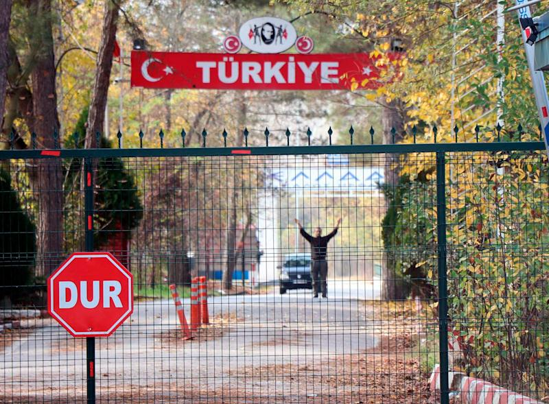 An man identified by Turkish news reports as a U.S. citizen is stuck in the heavily militarized no-man's land between Greece and Turkey, on Nov. 11, 2019.