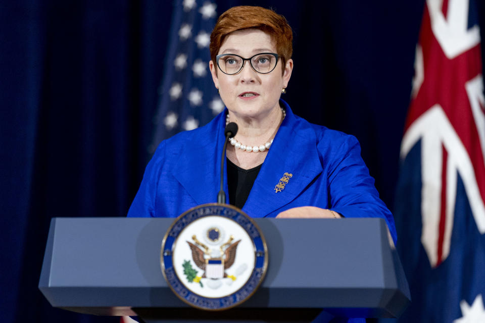 FILE - In this Sept. 16, 2021, file photo, Australian Foreign Minister Marise Payne speaks during a news conference with Australian Minister of Defense Peter Dutton, Secretary of State Antony Blinken, and Defense Secretary Lloyd Austin at the State Department in Washington. Australia said on Saturday, Sept. 18, it regretted France's decision to recall its ambassador over the surprise cancellation of a submarine contract. (AP Photo/Andrew Harnik, File)