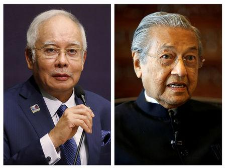 FILE PHOTO - A combination photo of Malaysia's Prime Minister Najib Razak and former Malaysian prime minister Mahathir Mohamad (R) in Kuala Lumpur, Malaysia, January 25, 2016 and March 30, 2017 (R). REUTERS/Olivia Harris REUTERS/Lai Seng Sin(R)/File Photos