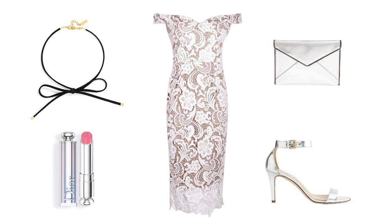 <p>Although not every girl can afford Michelle's stunning Louis Vuitton gown, you can achieve a similar look by pairing an off-the-shoulder lace dress with an affordable choker from BaubleBar. Add a dash of pink lipstick and silver accessories, and you'll be channeling Michelle in no time. </p>