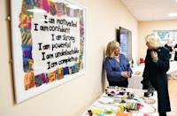 <p>At one point in the visit, Camilla and Charles split up, and the Duchess headed to Belfast and Lisburn Women's Aid. This organization provides support, information, and emergency housing for women and children affected by domestic and sexual violence. <br></p>
