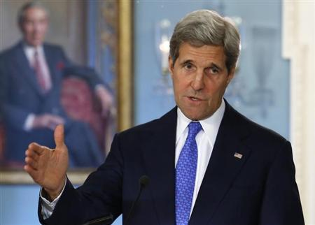 U.S. Secretary of State John Kerry speaks to the media at the State Department in Washington