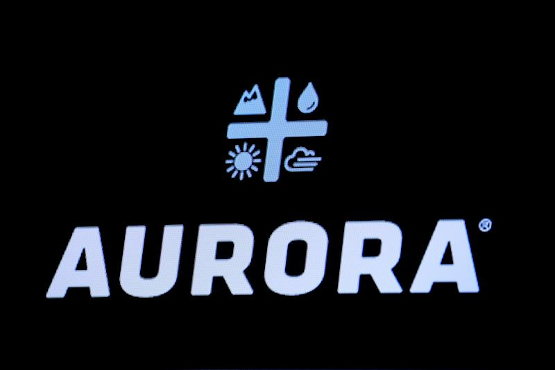 The Logo for Aurora Cannabis Inc., a Canadian licensed cannabis producer, is displayed on a screen on the floor of the New York Stock Exchange (NYSE) in New York, U.S., January 8, 2019. REUTERS/Brendan McDermid