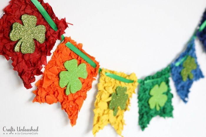 """<p>Kids will love crumpling the colorful tissue paper needed to craft this fun St. Patrick Day banner. The tutorial comes with a free printable to make the individual pennants. </p><p><strong>Get the tutorial at <a href=""""http://blog.consumercrafts.com/kids-stuff/shamrock-rainbow-banner/"""" rel=""""nofollow noopener"""" target=""""_blank"""" data-ylk=""""slk:Crafts Unleashed"""" class=""""link rapid-noclick-resp"""">Crafts Unleashed</a>.</strong></p><p><a class=""""link rapid-noclick-resp"""" href=""""https://www.amazon.com/s?k=craft+tissue+paper&tag=syn-yahoo-20&ascsubtag=%5Bartid%7C2164.g.35012898%5Bsrc%7Cyahoo-us"""" rel=""""nofollow noopener"""" target=""""_blank"""" data-ylk=""""slk:SHOP TISSUE PAPER"""">SHOP TISSUE PAPER</a><br></p>"""