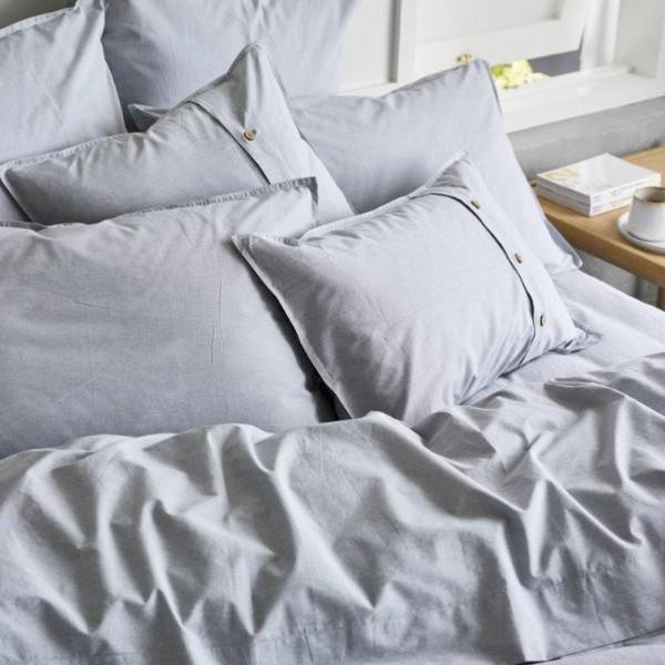 Sheets On The Line Organic Percale Cotton Quilt Cover Set in Fog, from $189.95 from Biome Eco Stores. Photo: Biome Eco.