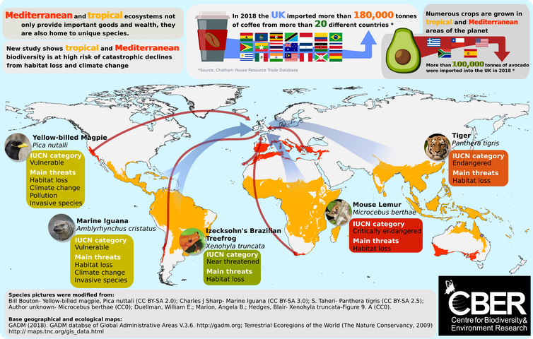 A world map showing tropical and Mediterranean regions where crops are grown and species threatened.
