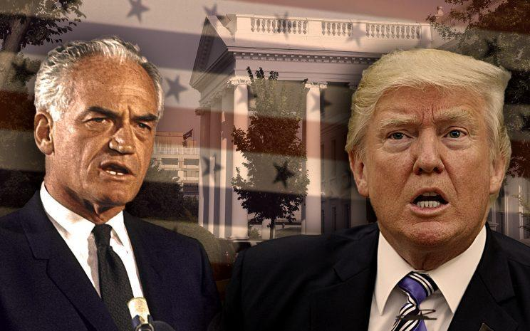 Barry Goldwater, Donald Trump. (Yahoo News photo illustration. Photos: Art Rickerby/The LIFE Picture Collection/Getty Images, Evan Vucci/AP, Alex Brandon/AP)