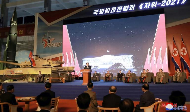 In a speech at a defence exhibition, North Korean leader Kim Jong Un said there was no basis in US actions 'for believing that it is not hostile' (AFP/STR)