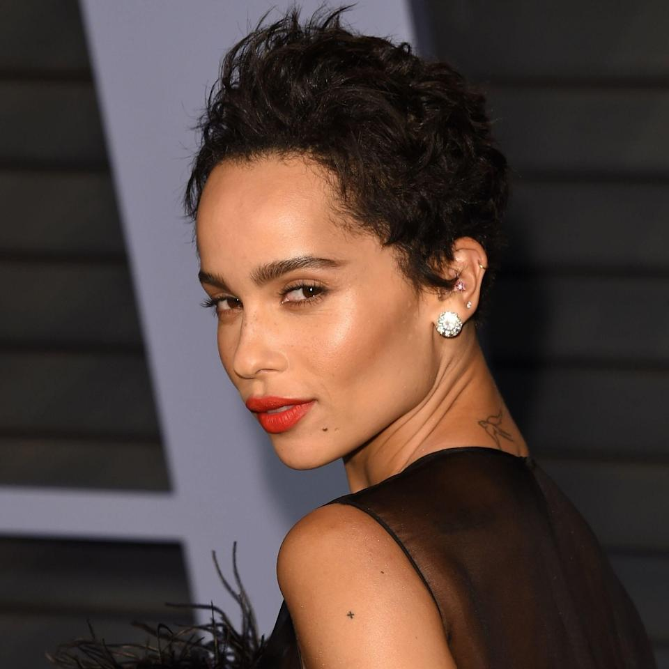 """<a href=""""https://www.allure.com/story/zoe-kravitz-cover-story-june-2017?mbid=synd_yahoo_rss"""" rel=""""nofollow noopener"""" target=""""_blank"""" data-ylk=""""slk:Zoë Kravitz"""" class=""""link rapid-noclick-resp"""">Zoë Kravitz</a> goes back and forth between short and long hair, but her pixie is a favorite — one that happens to be seriously on-trend for this year. """"The pixie is forever a classic because there are so many variations,"""" says hairstylist <a href=""""https://www.instagram.com/livjazzashley/?hl=en"""" rel=""""nofollow noopener"""" target=""""_blank"""" data-ylk=""""slk:Jasmine Ashley"""" class=""""link rapid-noclick-resp"""">Jasmine Ashley</a>. """"For 2020, most clients are going less 'bangy' and more flirty short cuts with a flare."""""""