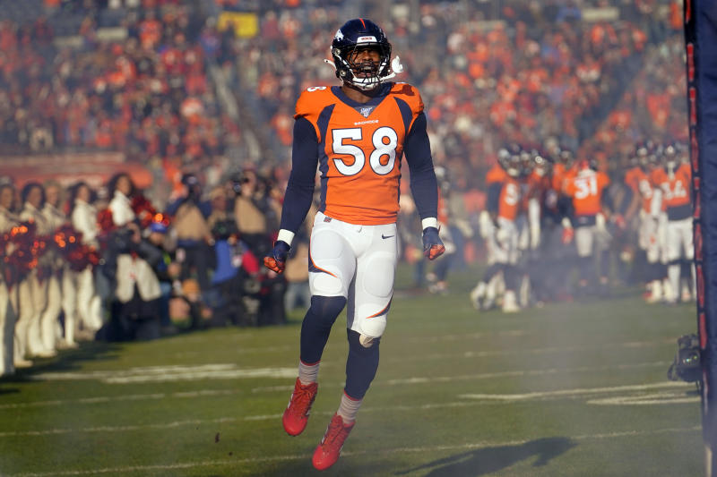 Denver Broncos outside linebacker Von Miller reacts as he takes the field before an NFL football game against the Oakland Raiders, Sunday, Dec. 29, 2019, in Denver. (AP Photo/Jack Dempsey)